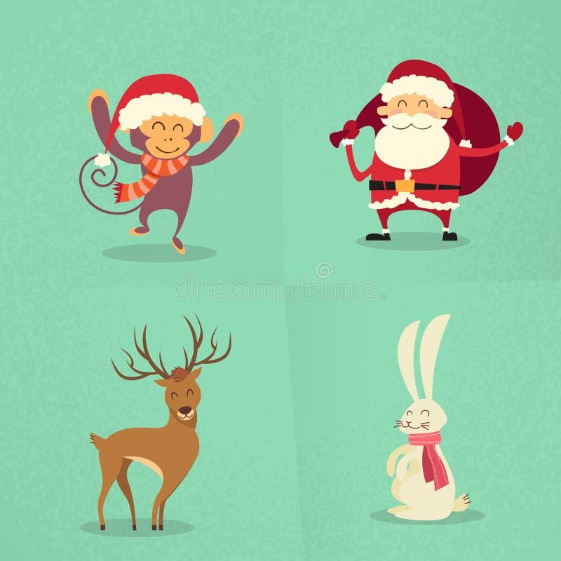Santa Claus Monkey Rabbit Deer Happy, die neu steht lizenzfreie abbildung