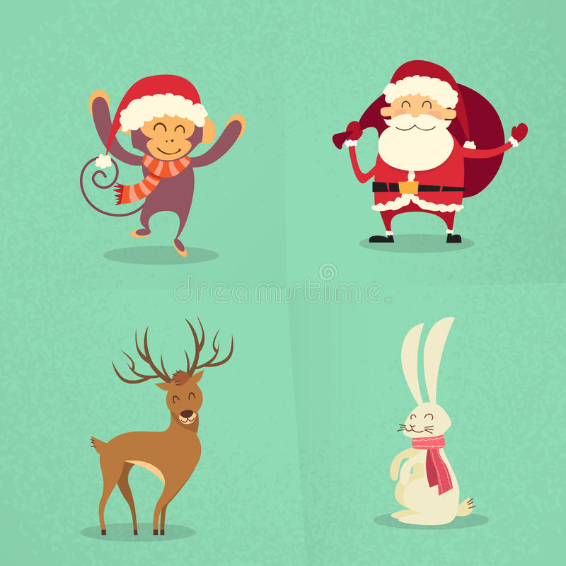 Santa Claus Monkey Rabbit Deer Happy som står ny royaltyfri illustrationer