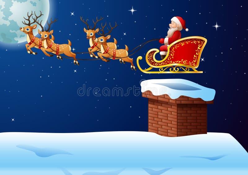 Santa Claus monta el trineo del reno contra un fondo de la Luna Llena libre illustration