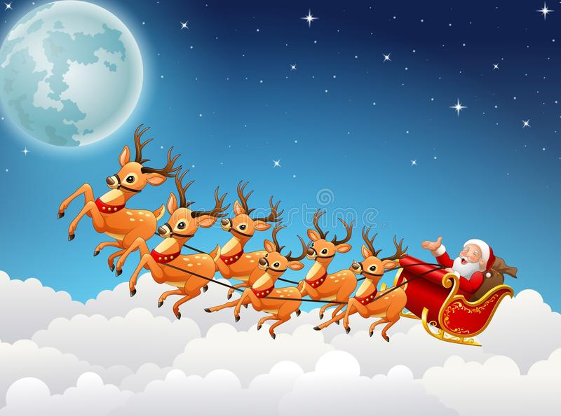 Santa Claus monta el vuelo del trineo del reno en el cielo libre illustration