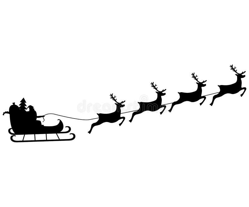 Santa Claus monta en arnés en el reno ilustración del vector
