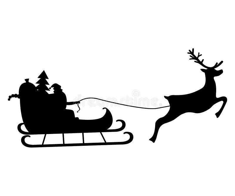 Santa Claus monta en arnés en el reno stock de ilustración