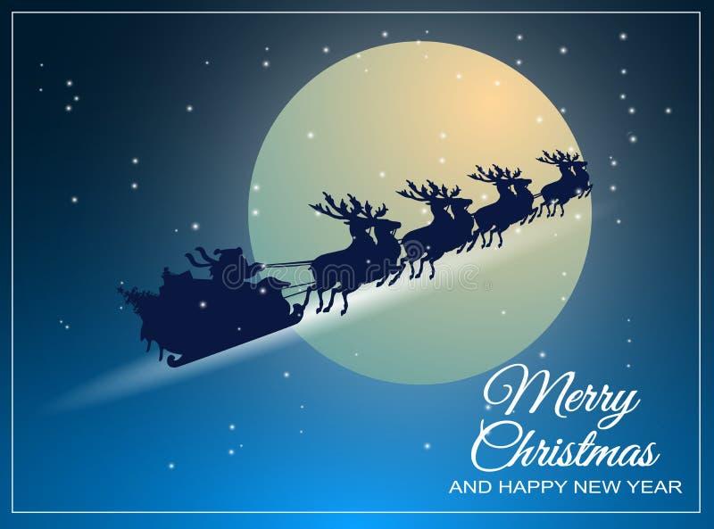 Santa Claus monta en un trineo con su reno a través libre illustration