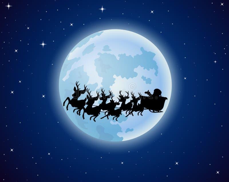 Santa Claus monta la silueta del trineo del reno contra un fondo de la Luna Llena ilustración del vector
