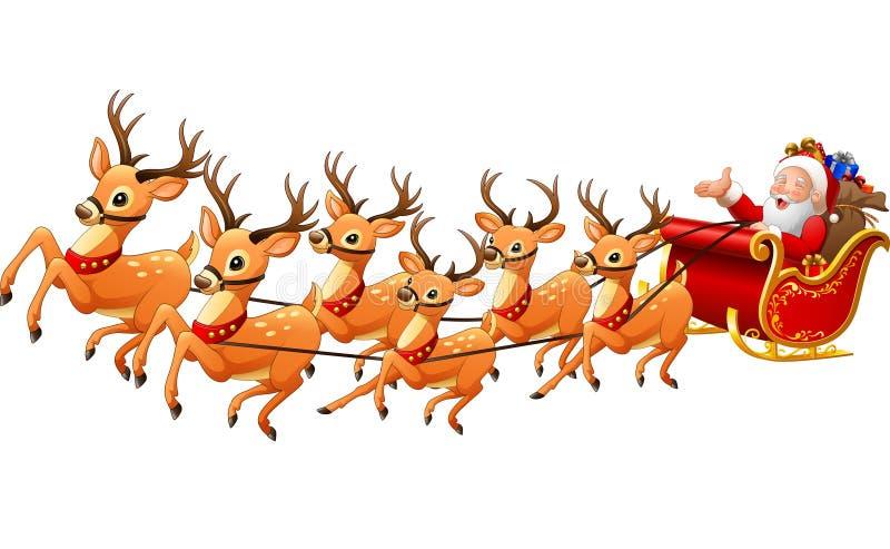 Santa Claus monta o trenó da rena no Natal ilustração do vetor