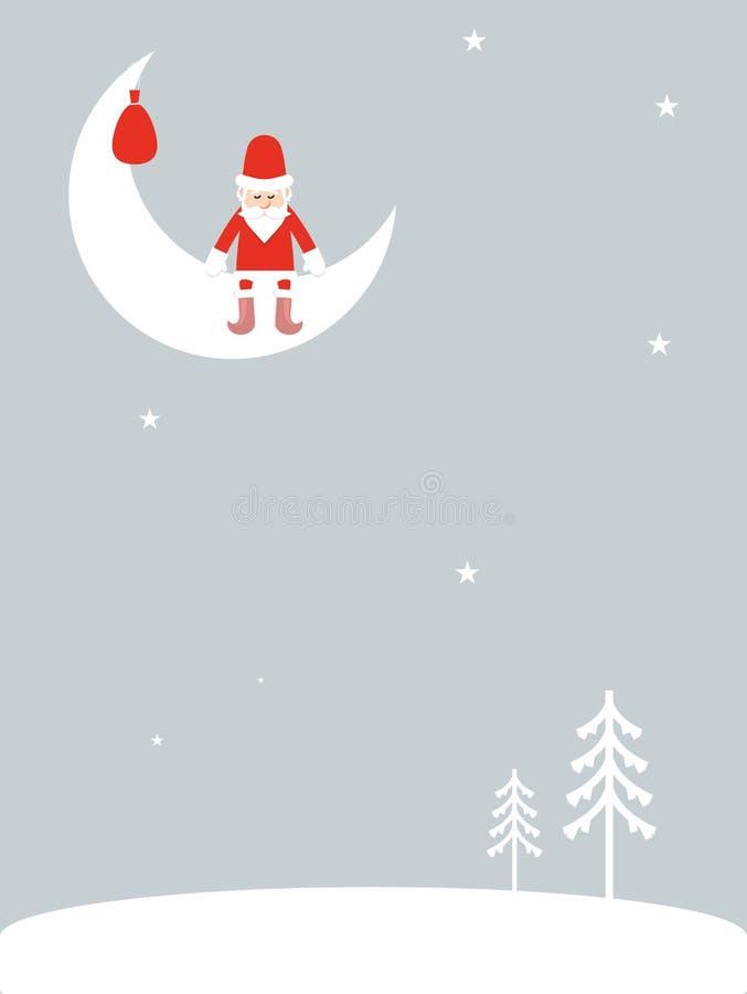 Santa Claus on the moon royalty free illustration