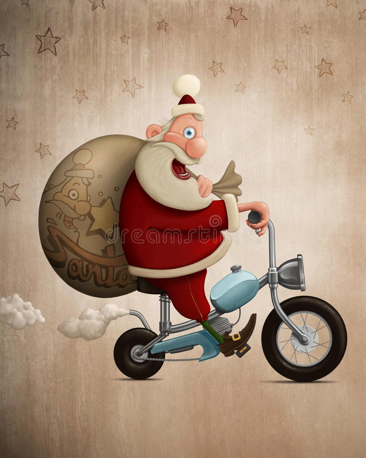 Santa Claus motorcycle delivery. Santa Claus delivery the gifts with motorcycle royalty free illustration