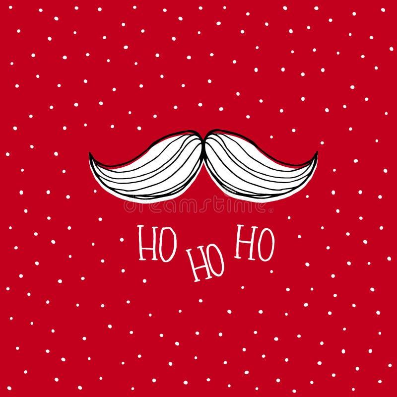 Santa Claus Moustache disegnata a mano bianca Carta rossa di vettore di Natale di Snowy illustrazione di stock