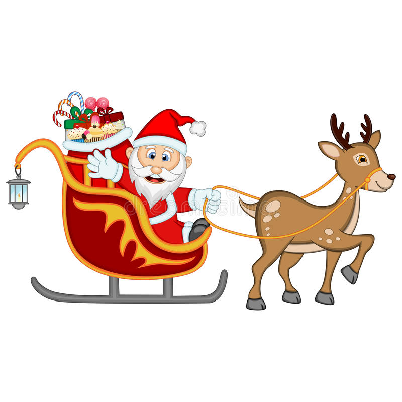 Santa Claus Moving On The Sledge avec le renne et apporte beaucoup de cadeaux illustration stock