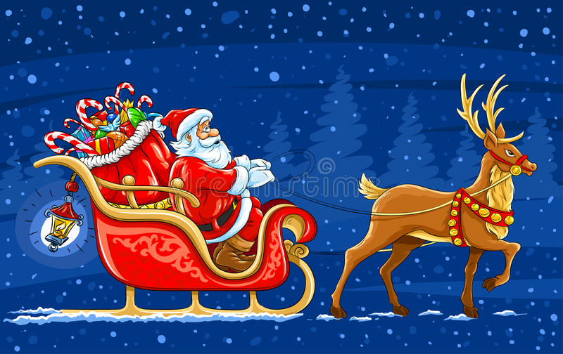 Santa Claus moving on the sledge with reindeer stock photo