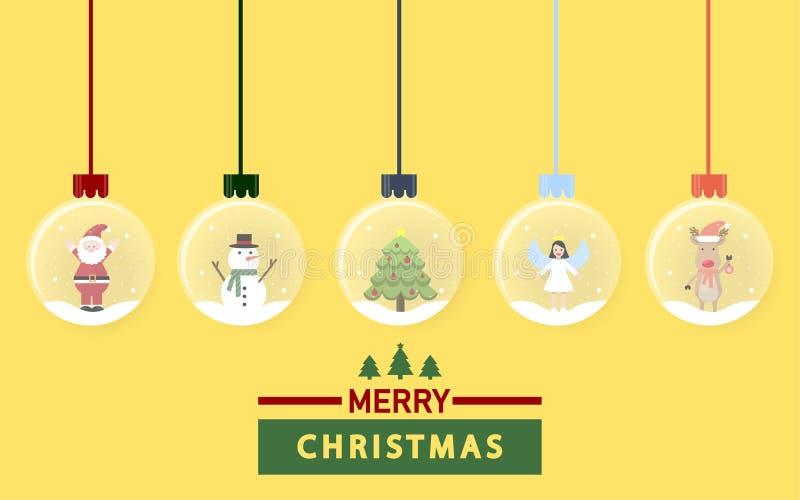 Santa Claus, muñeco de nieve, reno, ángulo y árbol de navidad en los globos de la nieve que cuelgan en fondo amarillo stock de ilustración