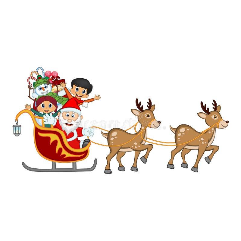 Santa Claus, muñeco de nieve y niños moviendo encendido el trineo con el reno stock de ilustración