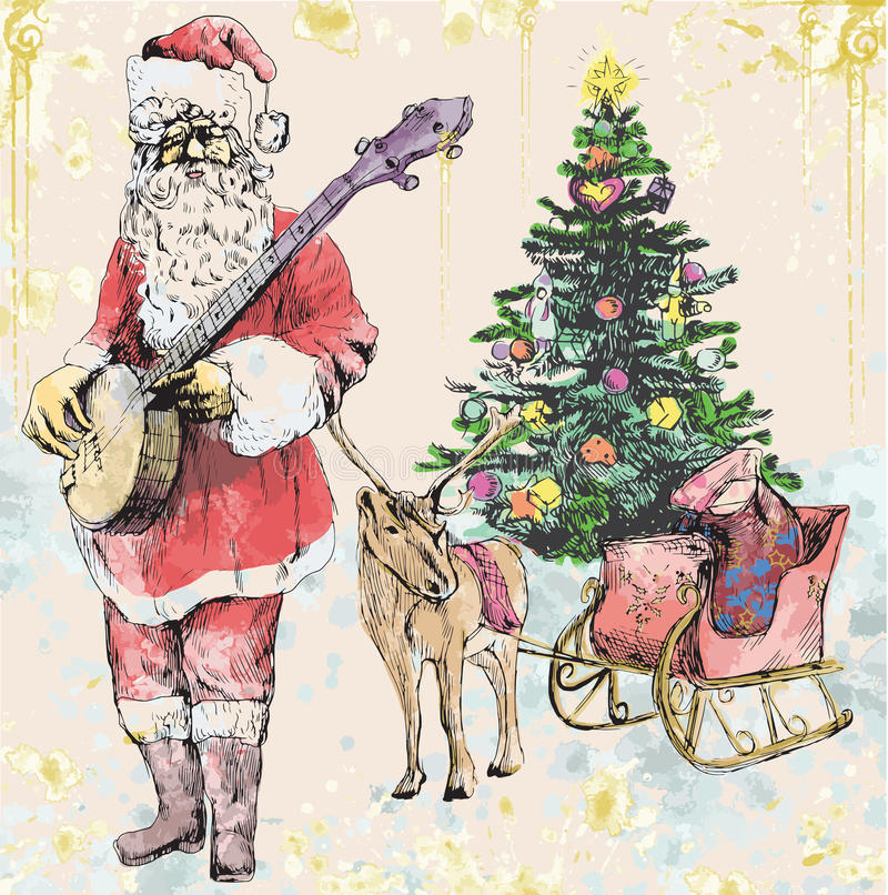 Santa Claus musician. He goes to play Christmas Carols on the Banjo. Editable in several layers. Number of colors in each layer: no more than sixteen stock illustration