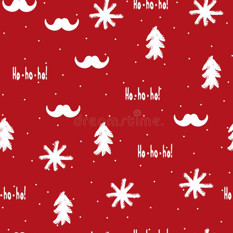 Santa Claus mustache, snowflakes, Christmas trees and text Ho-ho-ho! Seamless pattern for New Year design. royalty free illustration