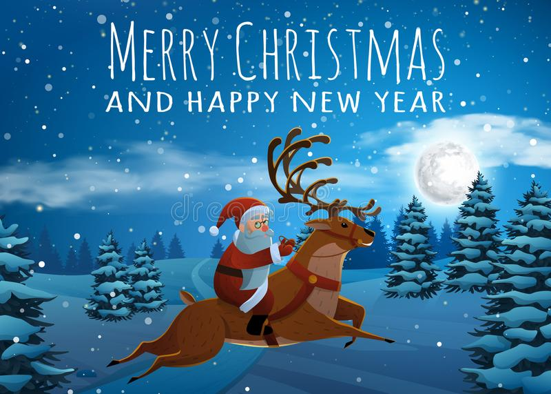 Santa Claus na equitação dos cervos no trenó com as renas pela neve Árvore de abeto da paisagem do Natal na noite e na lua grande ilustração royalty free