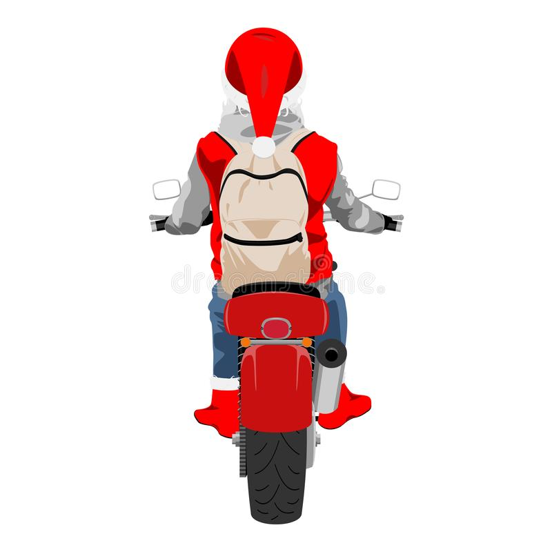 Santa Claus na ilustra??o isolada vestindo do vetor da trouxa da motocicleta vista traseira ilustração do vetor