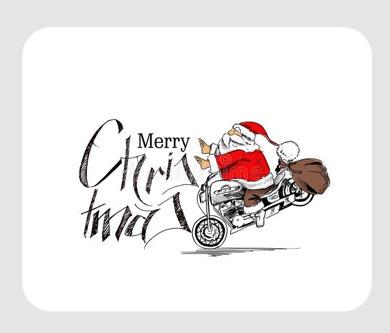 Santa Claus na motocyklu Wesoło bożych narodzeniach! Bożenarodzeniowy Backgroun ilustracja wektor