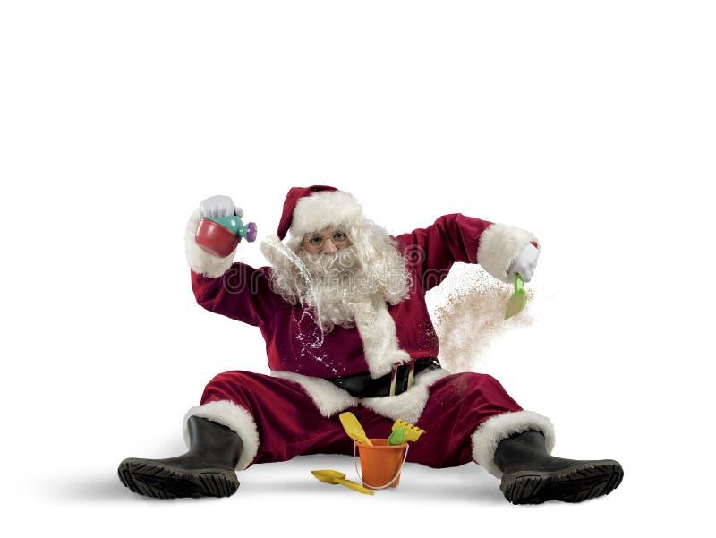 Santa Claus na plaży zdjęcie royalty free