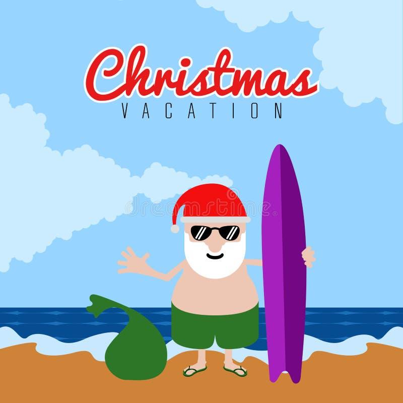 Santa Claus na plaży Bożenarodzeniowi wakacje royalty ilustracja
