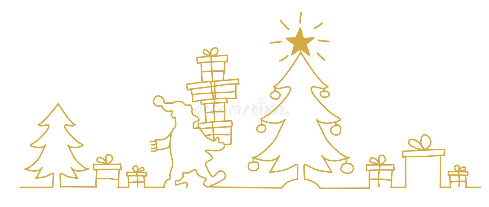 Santa Claus near the Christmas tree with gift. Continuous line drawing vector illustration golden color vector illustration