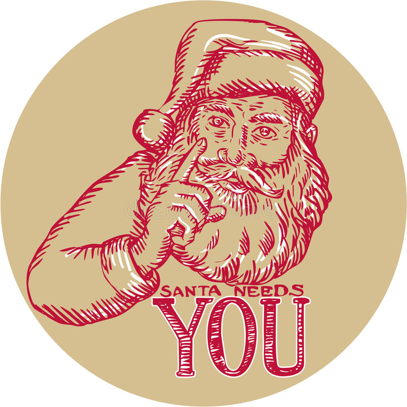 Santa Claus Needs You Pointing Etching libre illustration