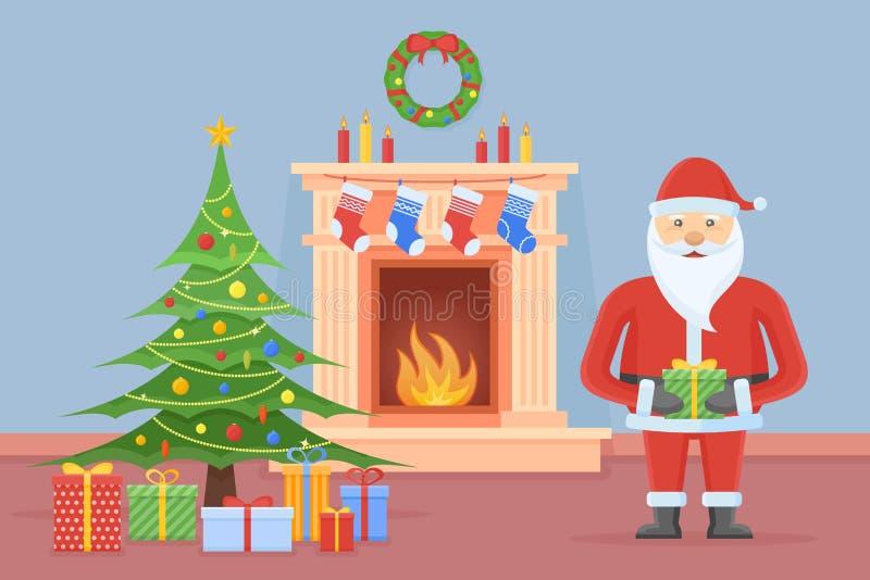 Santa Claus nell'interno della stanza di Natale con il camino e l'albero illustrazione di stock