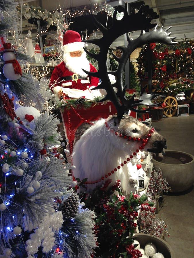 Santa Claus nella sua slitta con una renna immagine stock libera da diritti