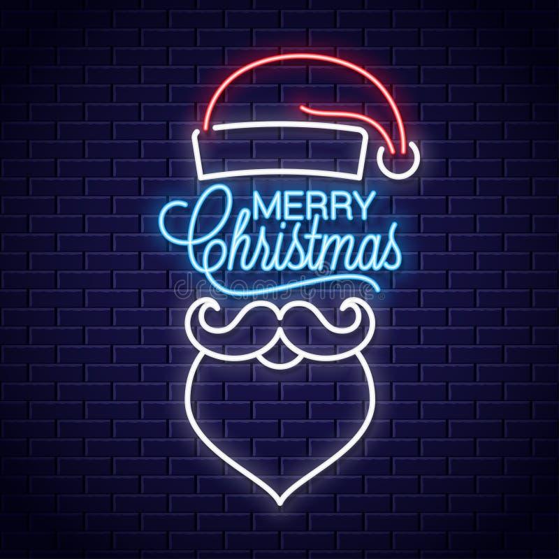 Santa Claus-neonteken De vrolijke banner van het Kerstmisneon met uitstekende Kerstmis stock illustratie