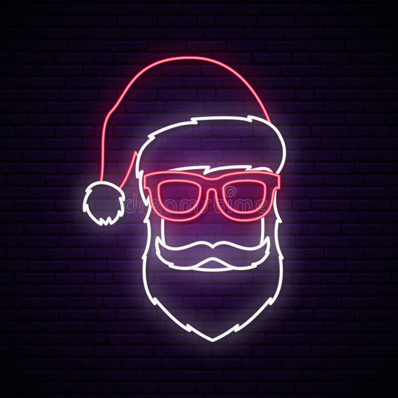 Santa Claus-neonteken Helder uithangbord stock illustratie