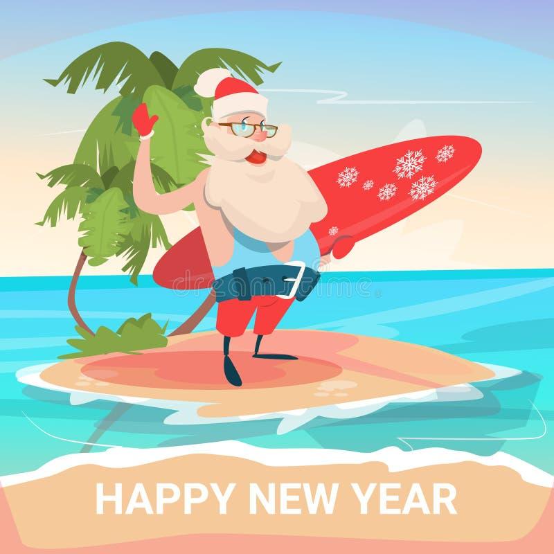 Santa Claus On New Year Christmas-het Tropische Oceaaneiland van de Vakantievakantie vector illustratie