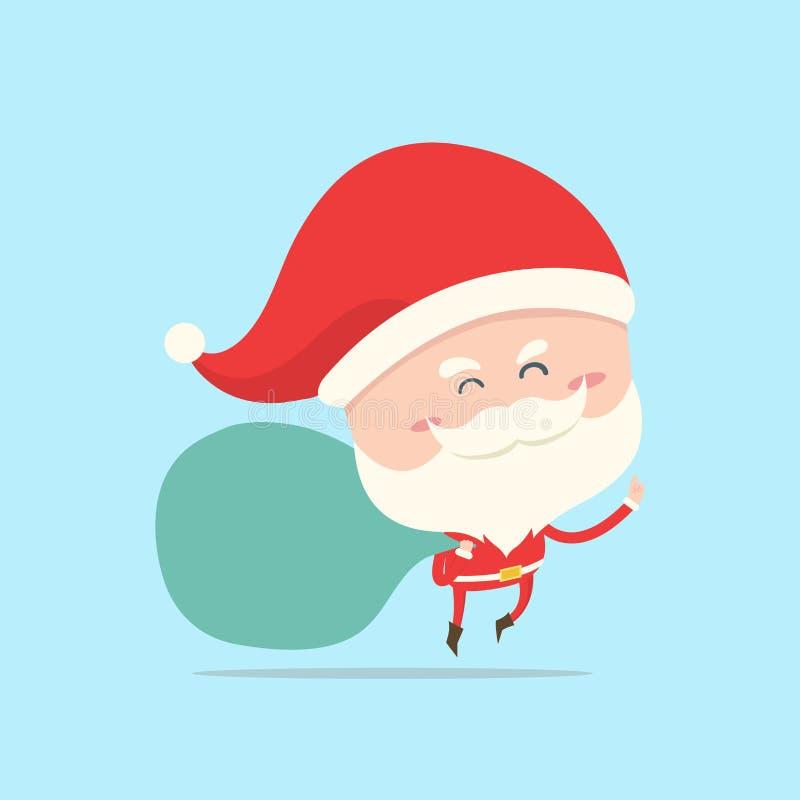 Santa Claus niesie torbę prezent, teraźniejszość ilustracja wektor