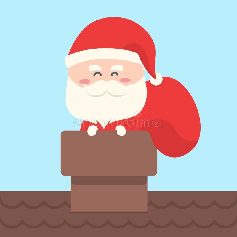 Santa Claus niesie torbę prezent, teraźniejszość royalty ilustracja