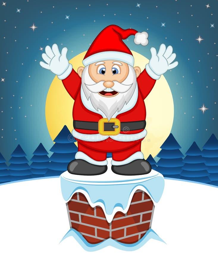 Santa Claus, nieve, chimenea y Luna Llena en la noche para su ejemplo del vector del diseño ilustración del vector