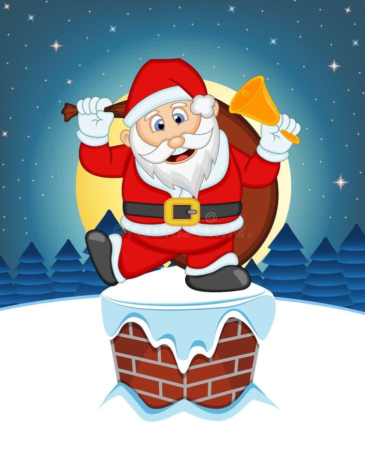 Santa Claus, nieve, chimenea y Luna Llena en la noche para su ejemplo del vector del diseño stock de ilustración