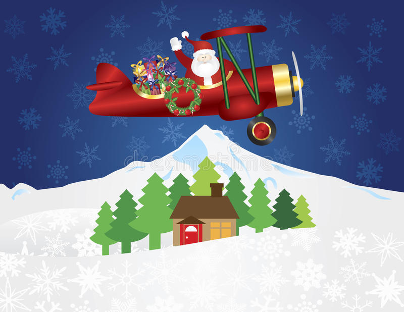 Santa Claus no biplano com presentes na neve da noite ilustração royalty free