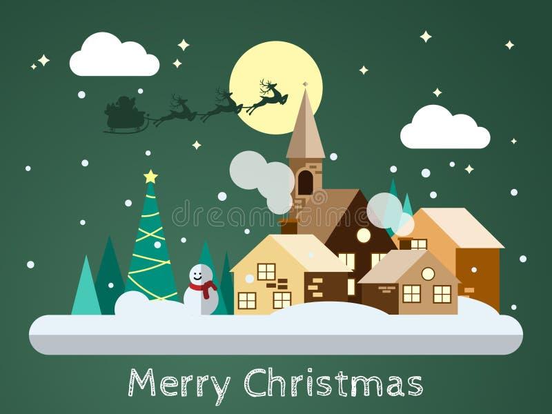 Santa Claus no céu que vem à paisagem urbana nevando no projeto liso ilustração royalty free