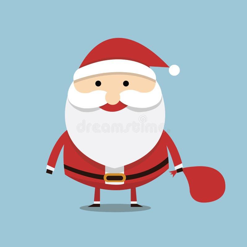 Santa Claus no fundo azul Ilustração do vetor ilustração stock