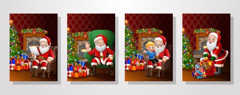 Santa Claus no grupo das coleções da sala de visitas ilustração royalty free