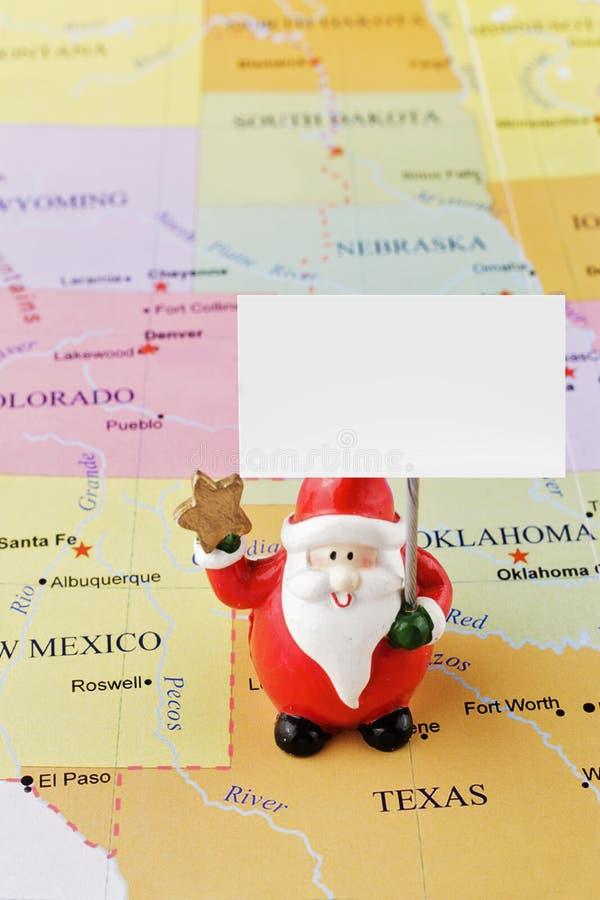 Santa Claus no mapa dos EUA fotografia de stock royalty free