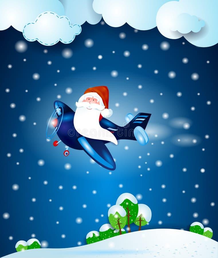 Santa Claus no plano, na noite ilustração do vetor