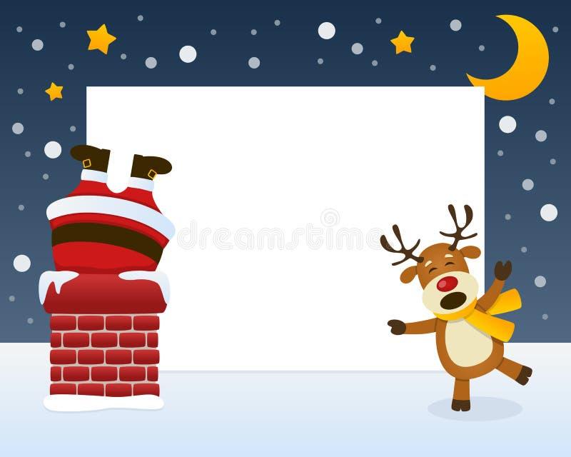 Santa Claus no quadro da chaminé ilustração stock