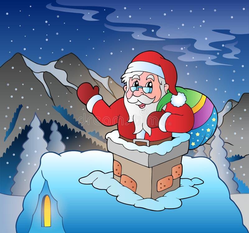 Santa Claus no telhado na montanha ilustração royalty free