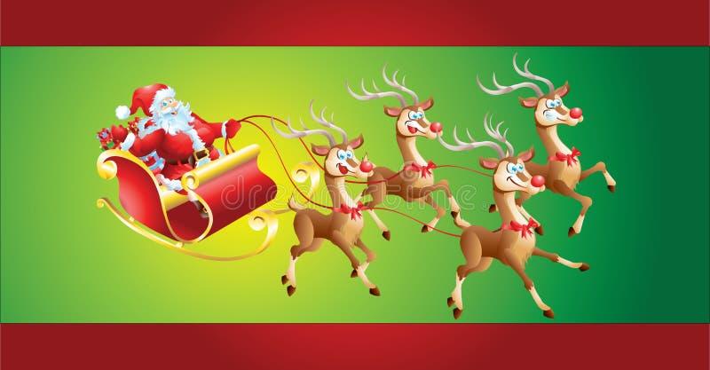 Santa Claus no trenó ilustração do vetor