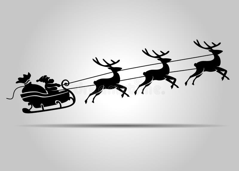 Santa Claus no trenó do Natal ilustração royalty free