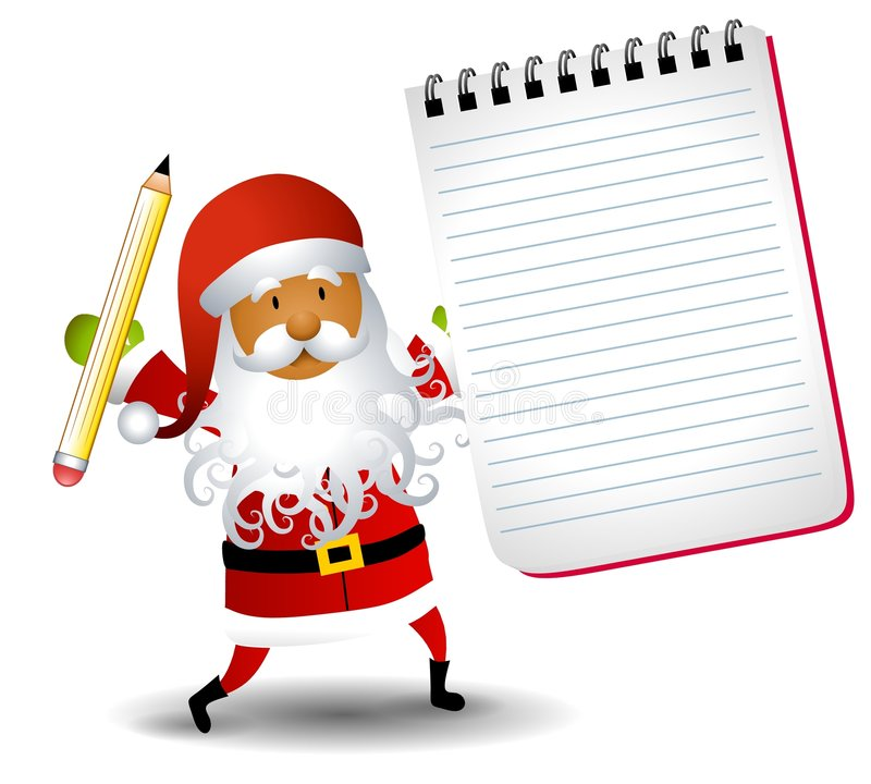 Santa Claus Notepad List. An illustration featuring an african american Santa Claus holding a pencil and blank notepad stock illustration