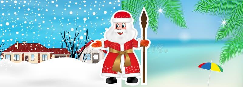 Santa Claus o el padre rusa Frost invita a partir de invierno al verano para celebrar la Navidad o el Año Nuevo en la playa Vecto stock de ilustración