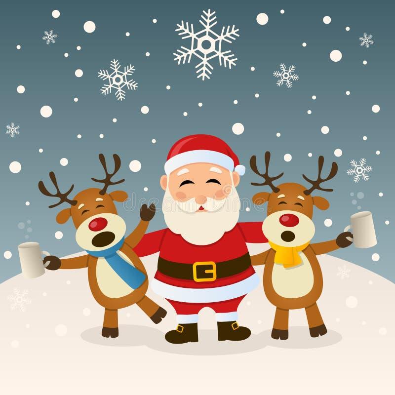 Santa Claus och berusad ren royaltyfri illustrationer