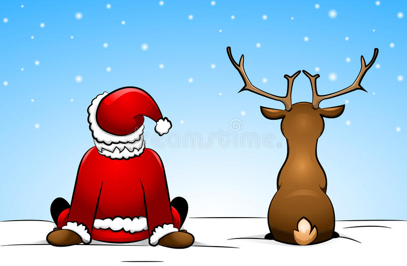 Santa Claus och en ren stock illustrationer