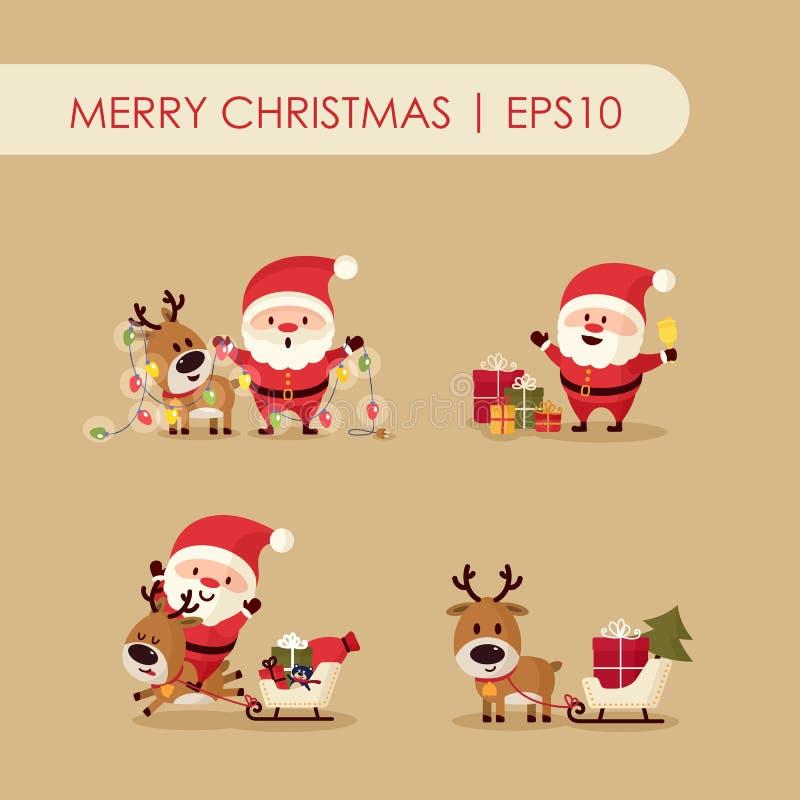 Santa Claus och hjortar royaltyfri illustrationer