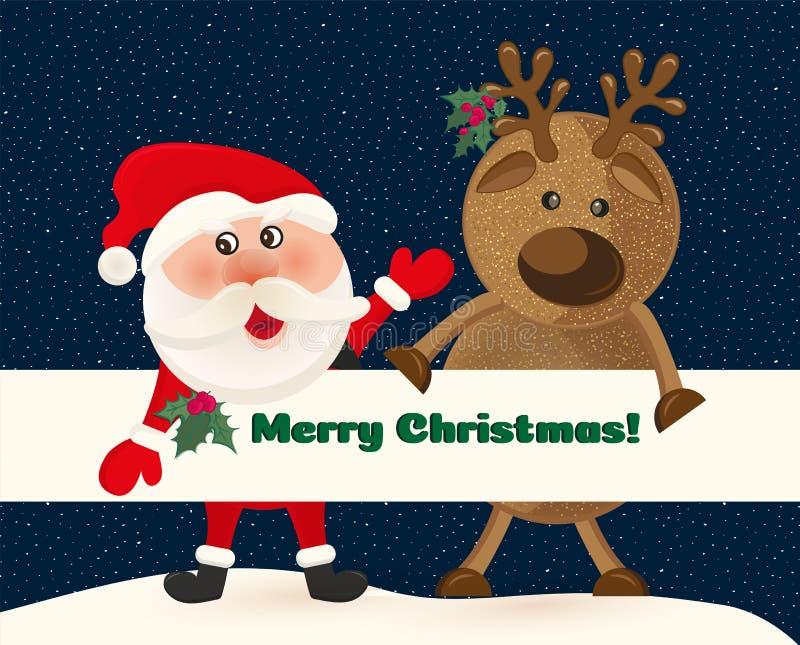 Santa Claus och hjortar på bakgrund av natthimmel med stjärnor Santa Claus och rött klumpa ihop sig Övervintra det gulliga kortet stock illustrationer